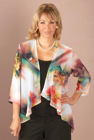 Hibiscus Pattern Chiffon Jacket