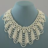Lace Pattern Simulated Pearl Necklace