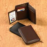 Leather RFID Zipper Wallet