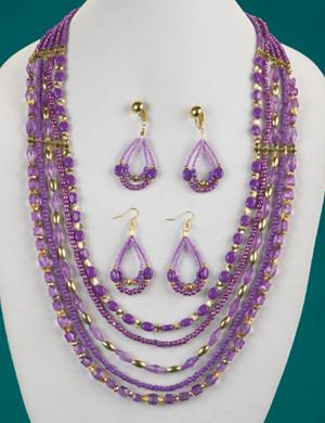 Purple and Goldtone Bead Necklace