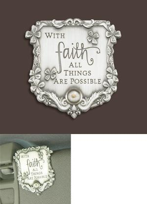 Faith-Themed Visor Clip with Mustard Seed