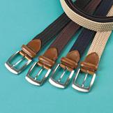 Braided Stretch Belt with Silvertone Buckle