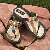 Double-Strap Beaded Sandals