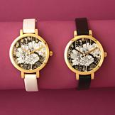 Floral-Themed Watch with Goldtone Case