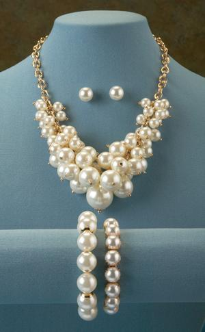 Goldtone and Simulated Pearl Necklace and Earrings
