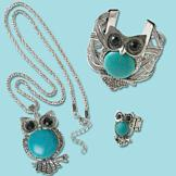 Silvertone and Turquoise-Look Owl Pendant