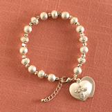 Beaded Bracelet with Metal Heart Charm
