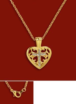 Filigree Heart Pendant with Diamond Dust