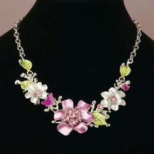 Metal Flower Necklace with Crystals