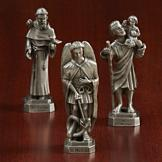 Pewter Saint Figurine with Prayer Card