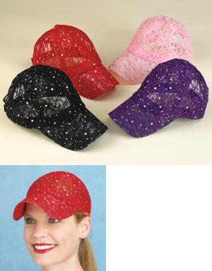 Floral Lace Ball Cap with Sequins - Pink