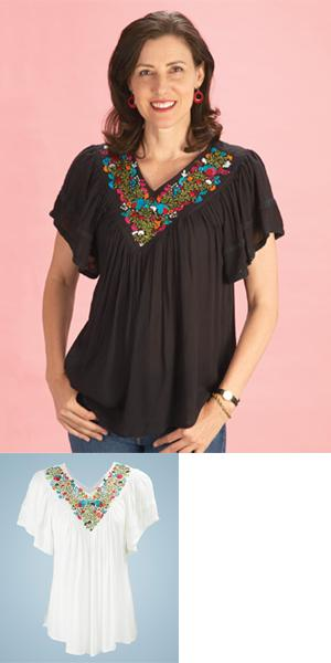 V-Neck Botanical Rayon Top
