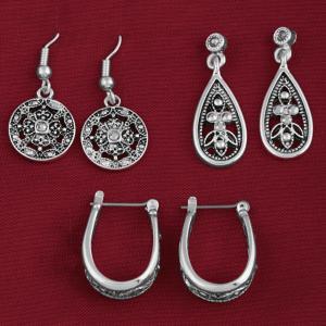Marcasite Pierced Earring Trio
