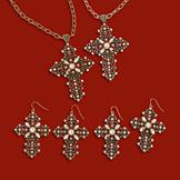 Victorian Cross Goldtone Necklace