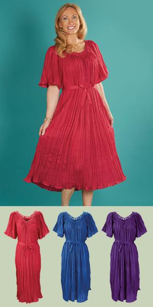 Crinkle Dress - Fuchsia