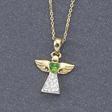 Angel with Emerald-Green Heart Pendant