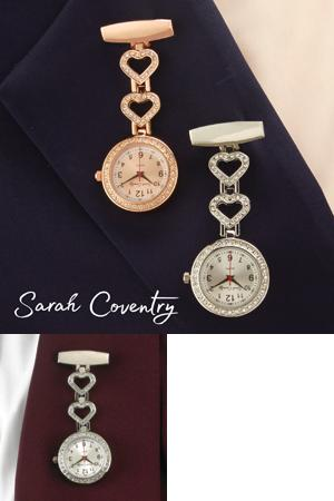 Sarah Coventry Bejeweled Clip Watch - Rose Goldtone