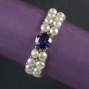 Freshwater Pearl Bracelet with Simulated Amethyst Crystal