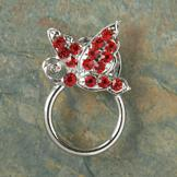 Magnetic Eyeglasses Holder with Red Crystal Butterfly
