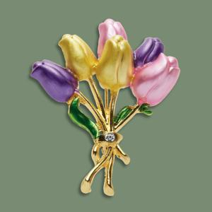 Bouquet-of-Tulips Pin