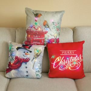 Lighted Holiday Pillow - Snowman