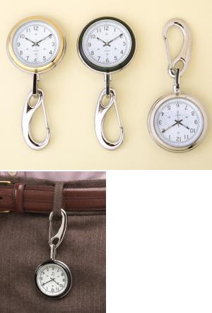 Clip Watch - Black/Silvertone