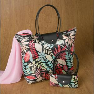 Botanical Design Tote with Double Handles