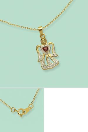 Angel with Genuine Garnet Heart Pendant