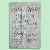 Sisters in Heart Solid Wood Plaque
