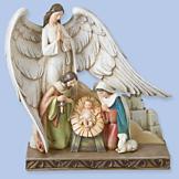 Nativity Scene Figurine with Celestial Angel