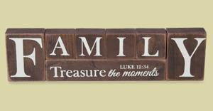 Luke 12:34 Solid Wood Family Display Blocks