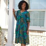 Lightweight Housedress with Batik-Style Jewel Tones - Missy