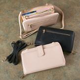 Crossbody RFID Phone Wallet - Blush