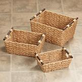 Natural Rush Baskets - Set of 3