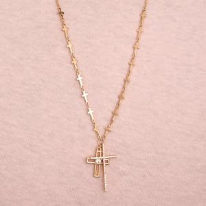 Goldtone Cross Necklace