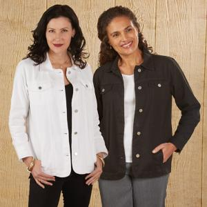Chic Cotton Twill Jacket - White