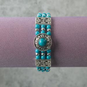 Southwestern Style Simulated Turquoise Bead Bracelet