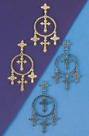 Crystal-Studded Gothic Cross Earrings - Metallic Gold