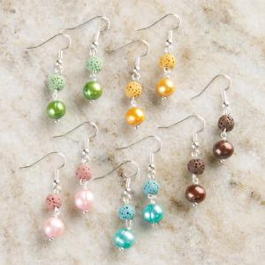 Freshwater Pearl and Lava Earrings - Set of 5 Pairs