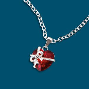 Ruby-Red Crystal Heart Pendant