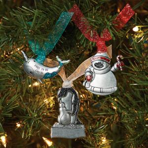 Pewter-Look Christmas Ornament - Narwhal