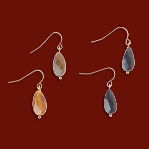 Agate and Tiger's-Eye Earrings - Set of 2
