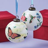 Handpainted Botanical Ornament - Hummingbird