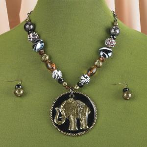 Beaded Elephant Necklace and Earring Set