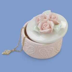 Ceramic Trinket Box with Hearts and Roses