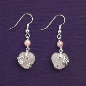 Rose Quartz Heart Pierced Earrings