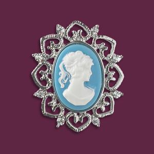 Cameo-Look Brooch with Silvertone Heart Frame