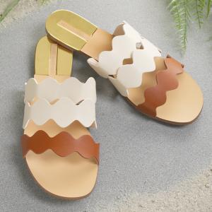 Scalloped Slide Sandals