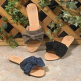 Elegant Bow Slide Sandals - Onyx