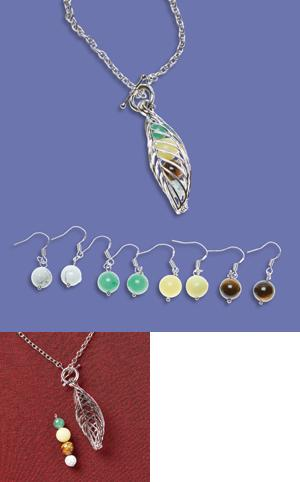 Four Season Leaf Necklace with Hinged Pendant